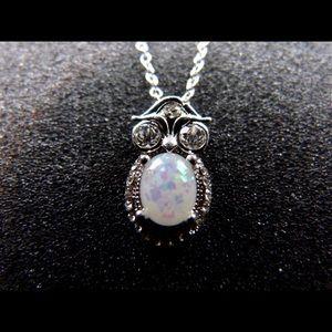 White Opal Owl Silver Pendant Necklace